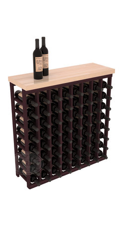 """Wine Racks America - Tasting Table Wine Rack Kit with Butcher Block Top in Redwood, Burgundy Stain - The quintessential wine cellar bar; this wooden wine rack is a perfect way to create discrete wine storage in shallow areas. Includes a 35"""" Butcher Block Top that helps you create an intimate tasting table. We build this rack to our industry leading standards and your satisfaction is guaranteed."""