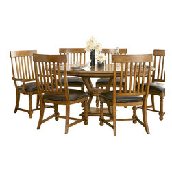 American Drew - American Drew Americana Home 8 Piece Artisan's Round Dining Room Set in Warm Kha - Americana Home is a casual lifestyle grouping with an eclectic mix of design elements, finishes, and materials. Crafted with Pin Knotty Oak veneers with hardwood solids. Americana Home creates an inviting and comfortable setting for any lifestyle and personality. The best elements of casual country, modern lodge, coastal cottage and urban loft living combine to bring a unique sense of timeless and comfortable places from all over the American andscape. Americana Home creates an inviting and comfortable setting for any lifestyle and personality. Design the perfect timeless escape in your own home.