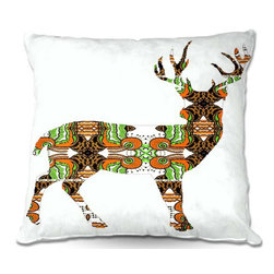 DiaNoche Designs - Pillow Linen - Susie Kunzelmans Deer - Add a little texture and style to your decor with our Woven Linen throw pillows. The material has a smooth boxy weave and each pillow is machine loomed, then printed and sewn in the USA.  100% smooth poly with cushy supportive pillow insert with a hidden zip closure. Dye Sublimation printing adheres the ink to the material for long life and durability. Double Sided Print, machine wash upon arrival for maximum softness. Product may vary slightly from image.