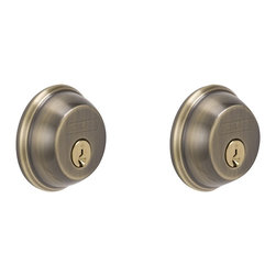 Schlage - Double Cylinder Deadbolt in Antique Brass - B - Manufacturer SKU: B62N 609. Handle Type: Deadbolt. Deadbolt operates with a key on the exterior and a key on the interior. For use on exterior doors with glass panes or gates where additional security is needed. Maximum security deadbolt offers superior protection against attacks by crowbar, hammer, wrench, saw, lock pick, and kick-in. Lifetime Limited Mechanical & Finish Warranty. Coordinate with other Antique Brass products. All metal chassis for strength and durability. Designed for standard door prep (fits existing pre-drilled holes). 1 in. L x 2.5 in. W x 2.5 in. H (1.2 lbs)