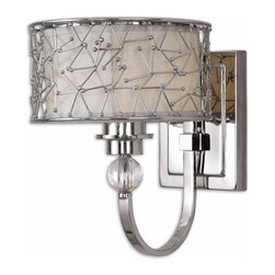 Uttermost - Uttermost Brandon Wall Sconce in Nickel Plate - Shown in picture: Nickel Plated Metal With A Silken Champagne Fabric Liner And Crystal Details. Contemporary metal abstract designs with a Nickel plated finish encases a Champagne liner and stained frosted glass accented with crystal elements.