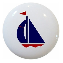 Carolina Hardware and Decor, LLC - Navy and Red Sailboat Ceramic Knob - New 1 1/2 inch ceramic cabinet, drawer, or furniture knob with mounting hardware included. Also works great in a bathroom or on bi-fold closet doors (may require longer screws).  Item can be wiped clean with a soft damp cloth.  Great addition and nice finishing touch to any room.