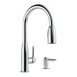 Delta Single Handle Kitchen Pull-Down with Soap Dispenser - P188103LF-SD - With the full line of Delta(R) kitchen faucets, it's easy to find just the right touch for your kitchen.