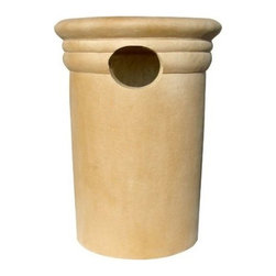 """Qualarc, Inc. - Trash Receptacle 21"""", Tan - Made with real crushed stone, blended with resin and reinforced with fiberglass."""