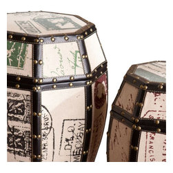 Holly and Martin - Vintage Paris Postcard 2pc Storage Drum Set - Add an eye-catching piece to your home that offers both beauty and practicality. This unique drum set is a charming focal point and conversation starter while also offering enclosed storage.