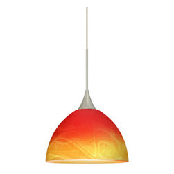 Besa Lighting - Besa Lighting 1XT-4679SL-LED Brella 1 Light LED Cord-Hung Mini Pendant - Brella has a classical bell shape that complements aesthetic, while also built for optimal illumination. Our Solare glass is a pressed glass that features swirls of white throughout clear glass, which then is colored with a translucent mix of red-orange to yellow. This decor is classic and can be used in various ways. When lit this gives off a light that is functional and soothing. The smooth satin finish on the clear outer layer is a result of an extensive etching process. This handcrafted glass uses a process where every glass is consistently produced using a press mold, keeping variations to a minimum. The 12V cord pendant fixture is equipped with a 10' braided coaxial cord with teflon jacket and a low profile flat monopoint canopy.Features: