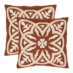 Safavieh - Safavieh Draco Whirl Pillow (2) X-2TES-8181-A108LIP - Folkloric quilt motifs from American Country to Moroccan are embodied in this bold design embroidered in in cream on a 100 percent polyester ground for extraordinary drama in any room.