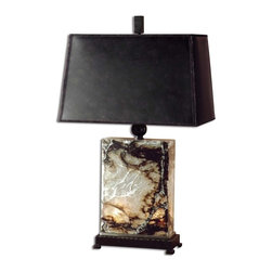 Carolyn Kinder - Carolyn Kinder Marius Transitional Table Lamp X-10962 - This table lamp is made of black, brown and ivory marble with bronze metal detail and a night light inside the base. The base holds two 7 watt candelabra bulbs. The bronzed faux leather shade is a rectangle hardback.