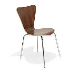 Aeon Furniture - Cami Laminate Chair -Walnut Laminate - Set of - Set of 4. Birch core plywood construction. Sturdy chrome steel legs. Durable laminate finish. Non-marking feet. Assembly Required. Seat Height: 18 in.. 19 in. L x 17.75 in. W x 32 in. H (11.5 lbs.)Durable laminate finished bentwood chair with exposed natural birch edge on a chromed steel frame ..  The Cami chair is part of Aeon's Bentwood Collection.  This chair is a high-quality reproduction of a true modern classic.  Aeon Furniture is dedicated to  providing the highest quality furniture at an affordable price.  Our products are designed and crafted by true furniture artisans utilizing superior craftsmanship and the finest materials.