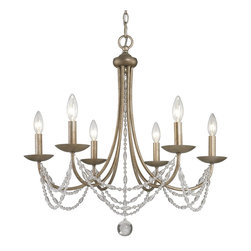 Golden Lighting - Mirabella 6-Light Chandelier - Includes metal candlesticks. Bulbs not included. Requires six 60 watt incandescent type B bulbs. Total wattage: 360W. Electric wire gauge: SPT-1 105°C. Traditional style. Creates stylish focal point. Graceful sweeps draped with crystal-clear glass beads. Opal glass light fixture provide pure white light. Comfortably sized for typical dining room. UL listing: Dry. Six sockets. Made from steel and glass beads. Golden aura color. Wire length: 120 in.. Chain length: 72 in.. Canopy extension: 1.25 in.. Canopy: 5.5 in. Dia.. Overall: 25.5 in. W x 26 in. H. Warranty. Assembly Instructions