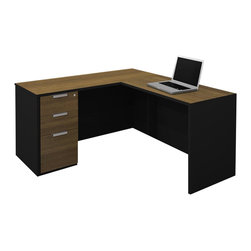 Bestar - Bestar Pro-Concept L-Shaped Workstation with Assembled Pedestal - Bestar - Executive Desks - 11085798 - This commercial collection offers numerous configuration possibilities to customize your work environment. The compact desk dimensions will facilitate your layout while preserving efficiency and well-being.
