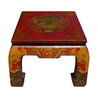 Golden Lotus - Red Yellow Tibetan Elephant Square Coffee Table - This wooden square craw legs coffee table is painted with charm red top yellow legs base color. The traditional Tibetan treasure item bowl is painted on the top. The legs are decorated with elephant head graphic.