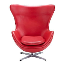 Modway - Glove Chair In Red Aniline Leather - Eei-528-Red - High Density Foam Cushioning