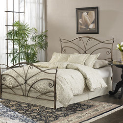 Fashion Bed Group - Papillon King Size Bed with Frame - Add a touch of elegance to your bedroom with this bed and frame from Fashion Bed Group. Curved loops, bends and spiral rods finish the sleek, pewter finished bed frame.