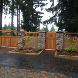 Craftsman Western Red Cedar Wood Gates - Craftsman Collection and speakeasy style gate (walkthrough gate).  Fence toppers are designed to fit within existing spaces.  Custom work is a specialty of Sederra cedar gates.