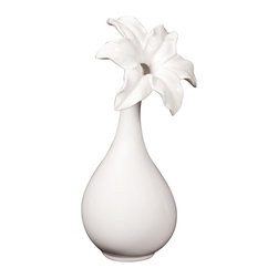Howard Elliott - Glossy White Ceramic Flower Vase - II - This elegant ceramic vase is finished in a glossy white and features a flowered opening.