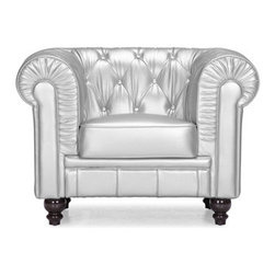 Aristocrat Arm Chair, Silver - Aristocrat arm chair made with leatherette & wood.