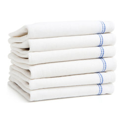 Keeble Outlets™ - Kitchen Towels , White with Royal Blue Border Stripe, Low Lint, 100% Cotton - Designed for Professional Kitchens: Now for the First Time Available to Every Kitchen in the United States.