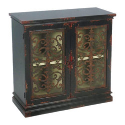 Sterling Industries - Sterling Industries Country Estate Cabinet X-5410-15 - This Sterling Industries cabinet features two doors with glass faces that have been overlaid with a filigree pattern in metal. The entire cabinet features a rustic feel thanks to distressed finishing to the wood, as well as an aged finish to the metal overlays. Circular knobs add to the appeal.