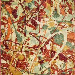 "Loloi Rugs - Loloi Rugs Lyon Collection - Red / Multi, 5'-2"" x 7'-7"" - If you enjoy admiring artwork on the wall, you may want to consider the Lyon Collection as as painterly masterpiece for your floor. From Egypt, these contemporary rugs have been inspired by Western European and South American watercolor paintings. And because they're power loomed of 100% polypropylene, a durable and stain resistant fiber, the colors will remain vibrant for years ahead."