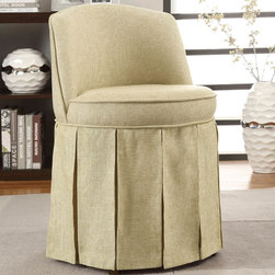 Coaster - Vanity Stool, Beige - This elegant vanity stool features a long pleated skirt around the whole base, and a curved back and padded seating for comfort.