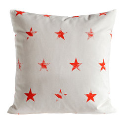 Ortolan - Red Stars Pillow - Each Antique Stars Pillow has it's own unique natural character and is printed by hand.