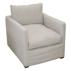 Celia Chair - Squnchy. Soft. Slipcovered. Yet squared-off. It's like the contemporary version of Shabby Chic for those of us who have outgrown rolled arms and flouncy white.