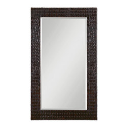 Uttermost - Ballinger Woven Faux Leather Mirror, Beveled 42x72 - The  Ballinger  leather  mirror  features  a  dark  brown  frame  crafted  from  tightly-woven  strips  of  faux  leather.  The  dark  chocolate  brown  color,  generous  1-1/4  inch  bevel  and  imposing  42x72  inch  exterior  size  make  this  the  perfect  rustic  mirror  for  a  bedroom,  over  a  couch,  or  in  a  hallway.  Simple  elegance  can  be  found  with  this  traditional  longer  length  mirror.