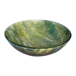 YOSEMITE HOME DECOR - Ocean Green Round Glass Basin - Marbled blues and greens radiantly blend together