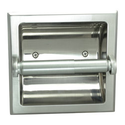 Designers Impressions - Recessed Toilet Paper / Toilet Tissue Holder, Satin Nickel - All Metal Construction