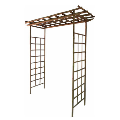 """Master Garden Products - Bamboo North Arbor, Handcrafted with Crack Resistent Solid Bamboo, 84""""H x 60""""W - Our bamboo arbors are made of natural bamboo and the joints are connected using bamboo dowels glued and hammered in to form a strong and long lasting structure.  The North arbor features two straight upper horizontal beams, large 24 wide Taki side panels, 84 in height and 60 wide, the walk through opening in the middle is 54""""."""