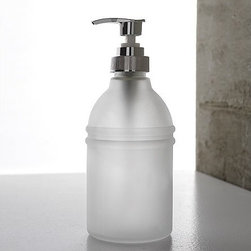 Toscanaluce - Round Frosted Glass Soap Dispenser - Unique, modern design frosted glass soap dispenser. Stylish, round soap dispenser is made out of frosted glass and pump is made out of brass in a chrome finish. Made in Italy by Toscanaluce. Unique, modern style free standing frosted glass liquid soap dispenser. Counter soap dispenser made out of frosted glass with a chromed brass pump. Stylish liquid soap dispenser for bathroom. From the Toscanaluce Riviera Collection.
