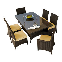 Forever Patio - Hampton 7 Piece Wicker Patio Dining Set, Chocolate Wicker and Wheat Cushions - The Forever Patio Hampton 7 Piece Rattan Outdoor Dining Set with Gold Sunbrella cushions (SKU FP-HAM-7DN-CH-WM) creates the perfect contemporary look for dining on your patio or deck. The set seats 6 adults comfortably, and includes 4 dining side chairs, 2 dining armchairs and a dining table with a glass top. This set features Chocolate resin wicker, which is made from High-Density Polyethylene (HDPE) for outdoor use. Each strand of this outdoor wicker is infused with the rich color and UV-inhibitors that prevent cracking, chipping and fading ordinarily caused by sunlight, surpassing the quality of natural rattan. This wicker dining set is supported by thick-gauged, powder-coated aluminum frames that make it extremely durable and resistant to corrosion. Also included are fade- and mildew-resistant Sunbrella cushions. Whether you are enjoying brunch, lunch or dinner, you will always dine in style with this wonderful looking outdoor patio dining set.