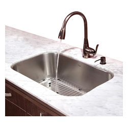 Kraus - Kraus 31.5 in. Undermount Single Bowl Kitchen Sink with Faucet & Soap Dispenser - Add an elegant touch to your kitchen with unique Kraus kitchen combo.