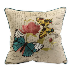 iMax - iMax Margaret Embroidered Butterfly Pillow X-71079 - The Margaret Butterfly pillow is embroidered with vivid renditions of fanciful and feminine motifs on typographically imprinted linen fabric.