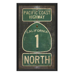 The Artwork Factory - 'Pacific Coast Highway' Print - The Pacific Coast Highway is littered with romantic tales of adventure, coming of age and exploration. Whether you're imagining the waves in Malibu or the trees in Big Sur, this iconic image is ideal for the California dreamer. Hang it in your living room as a daily reminder of the open road ahead.