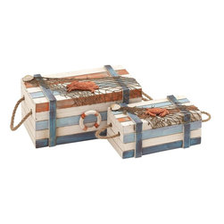 Benzara - Wood Box with Colorful Design and High Quality Wood - Colorfully designed and high on utility, this set of wooden boxes store your belongings and knick-knacks securely. The stylishly designed set of wooden boxes also makes for an apt choice to jazz up your home decor. Made of high quality wood, this set of fascinatingly designed wooden boxes stays new and strong for a longer period of time. There are two boxes, one big and one small, in this set and are modeled on the sailing theme with appropriate accenting features. The classical chest type boxes have sturdy lids and are fixed with wood railing over the sides that give added strength. There are rope handles on the sides that facilitate easy carrying of these boxes. The boxes are painted with multiple colors that bring a bright and rich look to the surrounding settings. There is a buoy or lifebelt fixed on the box to depict the nautical theme. The net spread across the box with the realistic crab and clam figurines adds to the seaside appeal of your home decor.