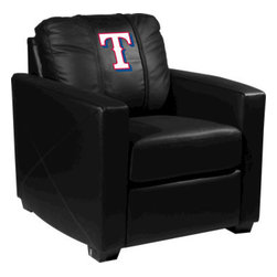 Dreamseat Inc. - Texas Rangers MLB Alt Logo Xcalibur Leather Arm Chair - Check out this incredible Arm Chair. It's the ultimate in modern styled home leather furniture, and it's one of the coolest things we've ever seen. This is unbelievably comfortable - once you're in it, you won't want to get up. Features a zip-in-zip-out logo panel embroidered with 70,000 stitches. Converts from a solid color to custom-logo furniture in seconds - perfect for a shared or multi-purpose room. Root for several teams? Simply swap the panels out when the seasons change. This is a true statement piece that is perfect for your Man Cave, Game Room, basement or garage.
