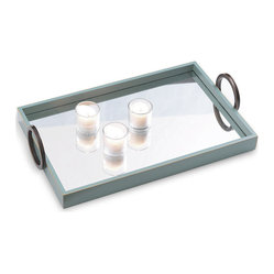 Drake Contemporary Mirrored Turquoise Blue Wood Tray