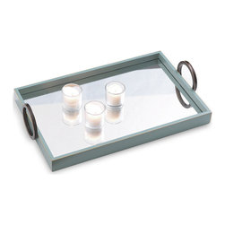Kathy Kuo Home - Drake Contemporary Mirrored Turquoise Blue Wood Tray - A true reflection of your sophisticated sense of style, this tray has a mirrored surface that creates a dazzling display for whatever it holds. Not only will it impress your guests, a quick wipe of the mirror makes cleanup a snap.