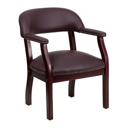 Flash Furniture - Flash Furniture Leather Conference Chair in Burgundy - Flash Furniture - Office Chairs - BZ105LF19LEAGG - This elegant reception/conference chair features upholstered arms a contoured back a solid hardwood mahogany frame and individual brass nail head trimming. This chair will complement reception areas libraries or your office as a guest chair.
