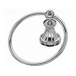 "Top Knobs - Hudson Bath Ring - Polished Chrome - Length - 2 1/4"", Projection - 3 3/4"", Ring / Hook Diameter - 5 1/4"", Base Diameter - 2 1/4"" w (x) 2 1/4"" h"
