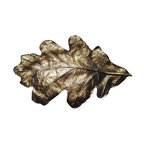 """Inviting Home - Oak Leaf Bin Pull (antique brass) - Hand-cast Oak Leaf Bin Pull in antique brass finish; 4-1/2""""W x 2-3/4""""H; Product Specification: Made in the USA. Fine-art foundry hand-pours and hand finished hardware knobs and pulls using Old World methods. Lifetime guaranteed against flaws in craftsmanship. Exceptional clarity of details and depth of relief. All knobs and pulls are hand cast from solid fine pewter or solid bronze. The term antique refers to special methods of treating metal so there is contrast between relief and recessed areas. Knobs and Pulls are lacquered to protect the finish."""