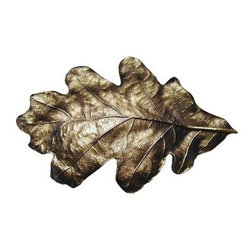 """Inviting Home - Oak Leaf Bin Pull (antique brass) - Hand-cast Oak Leaf Bin Pull in antique brass finish; 4-1/2""""W x 2-3/4""""H; Product Specification: Made in the USA. Fine-art foundry hand-pours and hand finished hardware knobs and pulls using Old World methods. Lifetime guaranteed against flaws in craftsmanship. Exceptional clarity of details and depth of relief. All knobs and pulls are hand cast from solid fine pewter or solid bronze. The term antique refers to special methods of treating metal so there is contrast between relief and recessed areas. Knobs and Pulls are lacquered to protect the finish. Alternate finished are available."""