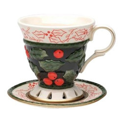 ATD - Christmas Holiday Themed Berry and Leaf Design Cup and Saucer Set - This gorgeous Christmas holiday themed berry and leaf design cup and saucer set has the finest details and highest quality you will find anywhere! Christmas holiday themed berry and leaf design cup and saucer set is truly remarkable.