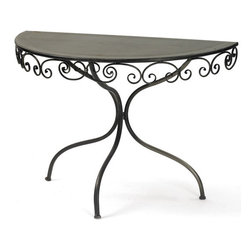 Swirley Demilune Table - This piece of Swirley Demilune table is made in half moon shape to add style and elegance to your room. Supported by metal legs framed in swirley or vines shape, it makes an excellent furniture piece.  One can place the flower vase and other useful articles on the table which can be kept in a corner.