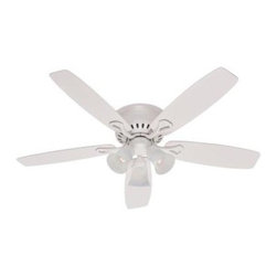 Hunter - Indoor Ceiling Fans: Hunter Oakhurst 52 in. White Ceiling Fan 21371 - Shop for Lighting & Fans at The Home Depot. The Hunter Oakhurst 52 in. Ceiling Fan adds a touch of distinctive style with its white finish and 5 reversible white/light oak blades that complement a variety of decor styles. The fan features a reversible, 3-speed control for optimal year-round comfort and a flush-mount design for installation in low-profile rooms. The fan comes with three 60-watt bulbs and a swirled-marble glass light fixture.