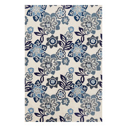 "Trans-Ocean - Floral China Blue 7'6"" x 9'6"" Indoor/Outdoor Rug - Intricately shaded yarns combined with the textural appeal of a tight loop construction create great visual appeal. These Tufted loop construction rugs are hand crafted in China of high quality synthetic materials. The synthetic material and loop construction makes these rugs soft underfoot, yet durable enough for any high traffic area of your home.Primary color: Blue"