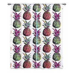 DiaNoche Designs - Window Curtains Unlined by Organic Saturation - Pineapple Party - Purchasing window curtains just got easier and better! Create a designer look to any of your living spaces with our decorative and unique unlined window curtains. Perfect for the living room, dining room or bedroom, these artistic curtains are an easy and inexpensive way to add color and style when decorating your home.  This is a tight woven poly material that filters outside light and creates a privacy barrier.  Each package includes two easy-to-hang, 3 inch diameter pole-pocket curtain panels.  The width listed is the total measurement of the two panels.  Curtain rod sold separately. Easy care, machine wash cold, tumbles dry low, iron low if needed.