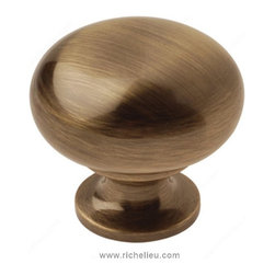 "Classic Solid Brass Knob - 3923 - Bp3923ae - Finish Antique English Screw/Nail 0.25"" Pulls and Knobs Style Classic Diameter 1.25"" Material Solid Brass Projection - Overall Dimensions 1.188"" Packaging format Bag"
